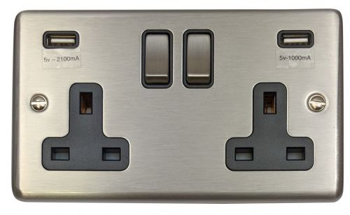 G&H CSS3910 Standard Plate Brushed Steel 2 Gang Double 13A Switched Plug Socket 2.1A USB
